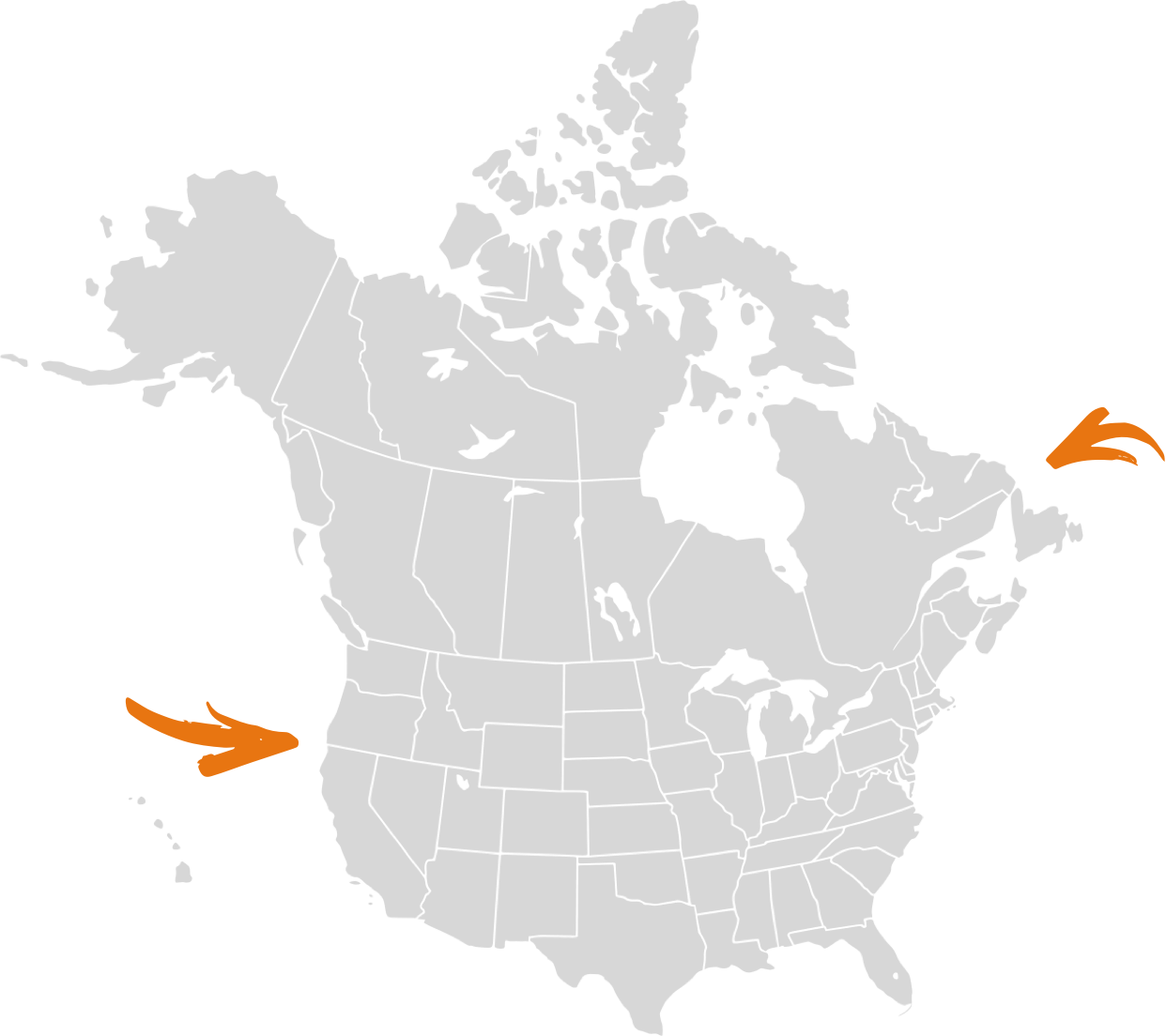 Stylized map of the United States and Canada